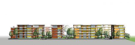Mehrfamilienhäuser im Scharnhauser Park, Ansicht