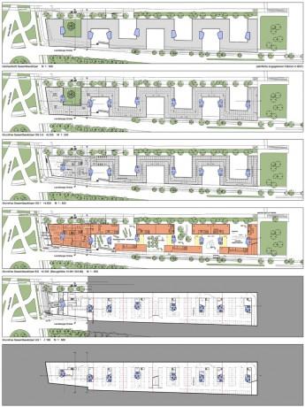 Geschäftshaus München-Laim, Grundrisse Gesamtbaukörper