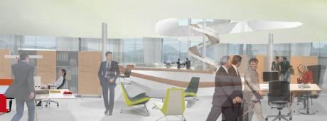 Hugo Boss Verwaltungsgebäude Perspektive Innenraum